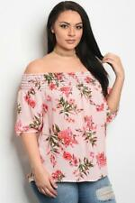 NEW..Stylish Plus Size Pretty Pink Floral Off the Shoulder Top..SZ18/2xl