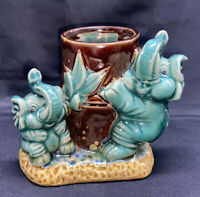 Vtg Trunk Up Elephant Planter Glazed Pottery Majolica Succulent Good Luck Pot