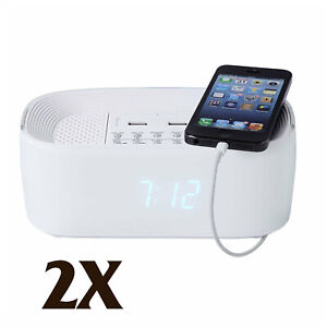 2X Groov-e Bluetooth Wireless Alarm Clock Radio Speaker System Mobiles Charger