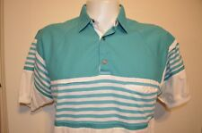 Greenline Turquoise Vaporwave Sailing Tennis Prep Polo Raglan L Shirt VTG 80s