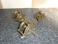 3x VINTAGE SMALL BRASS FISHING REELS GOOD CONDITION FOR AGE