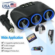 3 Way Car Cigarette Lighter Socket Splitter 12V USB Charger Power Adapter Plug