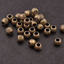 50Pcs Tibetan Silver Round Charm Spacer Beads for Bracelet Antique Bronze 3035