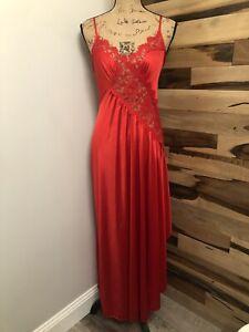 LADY CAMEO DALLAS VINTAGE RED LONG Slip Dress Lingerie Nightgown NYLON LACE SZ M