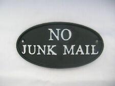 BLACK CAST METAL NO JUNK MAIL PLAQUE SIGN