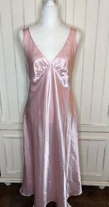 Stunning Jones New York Pink Satin Sexy Glamour Long Nightgown Size Large
