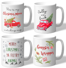 MugBros Holiday Four Pack of Novelty Coffee Mugs Jolly AF White Elephant Gifts