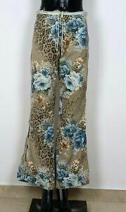 Extravagante Jeans Leo Blumen Style Stretch Gr.40 Beige Hüfthose Schlitze 660