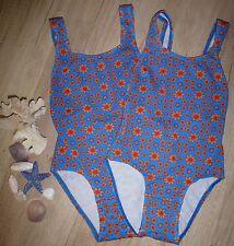2 Stück Mädchen Badeanzug Zwillinge blau orange Blumen Pique Stoff Gr.140 - NEU