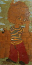 Vintage modernist oil painting child portrait boy with sling