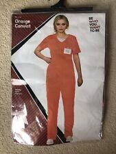Ladies Orange Convict Costume Prisoner Womens Fancy Dress UK Size Small