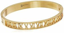 18k Gold Plated Stainless Steel Roman Numeral Bangle Bracelet