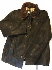 Dolce and Gabbana Brown Leather Jacket. D & G. Wool Burberry lining - Never worn