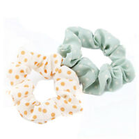 10pcs Girl Elastic Scrunchie Dot Print Ponytail Holder Hair Band Rope