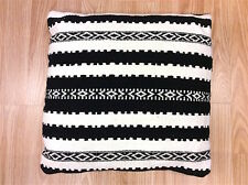 BLACK WHITE Ethnic Striped Cushion made with Indian Handmade Cotton Kilims -35%
