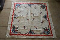 Vintage Square Dutch Floral Tablecloth Colorful Kitchen Decor Farmhouse Ranch