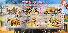 Rwanda 2013 CTO Wild Africa Elephants Lions Rhinos 6v M/S Wild Animals Stamps