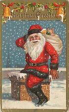 MERRY CHRISTMAS Greeting 1909  Postcard Full Suit SANTA, Toys Going Down CHIMNEY