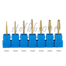 Gold Coated Cone Model Nail Drill Bit 3/32 Shank Manicure Pedicure Rotary Tools