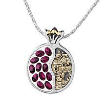 Handmade Pomegranate Sterling Silver 14K Gold Garnet Old City Jerusalem Necklace