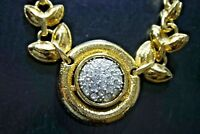 VINTAGE PARK LANE GOLD PLATE RHINESTONE CHAIN CHOKER NECKLACE.