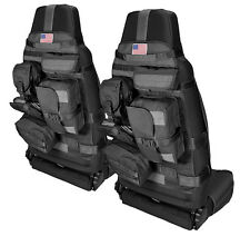 NEW Black Front Cargo Seat Cover PAIR w/Molle / FOR 1976-15 CJ YJ TJ JK WRANGLER