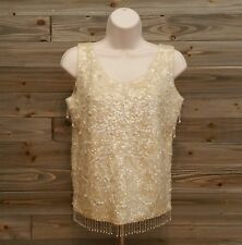 vintage sequin beaded top sleeveless wool ivory size 36 1950's