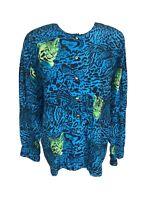 Escada 100% Silk Blouse Tiger print shirt button top Germany SZ 40 US 10 VTG 90'