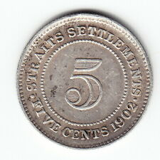 STRAITS SETTLEMENTS 5 cents 1902 KM20 Ag.800 EVII 2-year type MUCH ABOVE AVERAGE