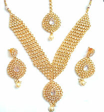 Indian Bollywood Bridal Gold White Polki Jewellery Necklace, Earring and Tikka