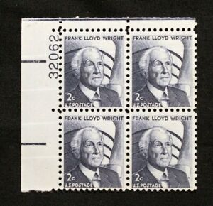 US Plate Blocks Stamps #1280 ~ 1965 FRANK LLOYD WRIGHT 2c Plate Block of 4 MNH