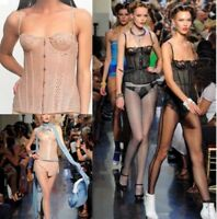 JEAN PAUL GAULTIER LA PERLA Perforated Leather Corset Lace 34B M Thong Nude Pink
