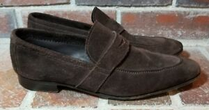 Henderson Baracco Dark Brown Suede Classic Penny Loafers - Men's Size 42(EUR)