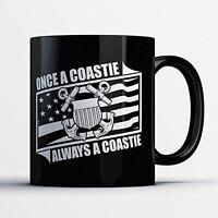 Coast Guard Coffee Mug - Always a Coastie - Funny 11 oz Black Ceramic Tea Cup -