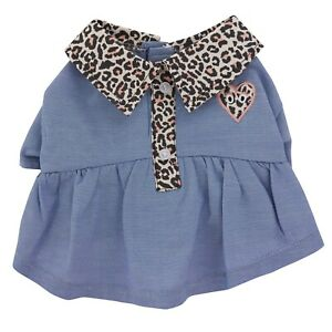 Denim Cheetah Dog Dress - XS or L - Wide Chest. Collared Buttons - Top Paw NWT