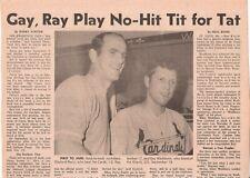 1968 TSN Full-Page 1st Back-to-Back No-Hitters MLB History G Perry HOF Washburn