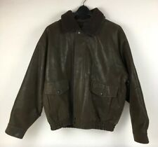Mountain Club Bomber Flight Aviator Jacket Brown Faux Leather Mens XL