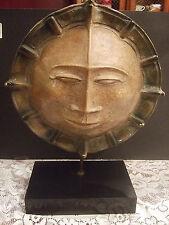 Rare Large Sun God Face Aztec Egyptian Statue Sculpture Art Ceramic Clay Pottery