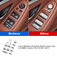 11pcs Window Lift Switch Sequin Cover Trim For BMW 5 Series F10 F18 2011-2017