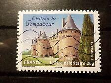 FRANCE 2012, timbre AUTOADHESIF, CHATEAU DE POMPADOUR, oblitéré, CASTLE