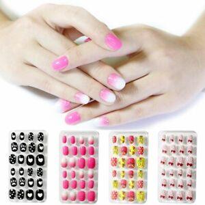 Nail Artificial Children False Fake Full Cover Tip 24Pcs Self Glue Kids Manicure