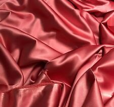 Faux Silk Satin Charmeuse Fabric CORAL PINK 1/3 Yard remnant
