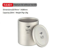Keith  220ml Titanium Cup Camping Mug  Picnic Hiking Titanium Double-wall Mug