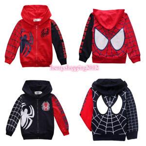 Boys Kids Cosplay Spiderman Zipper Up Hoodie Sweatshirt Jacket Coat Outwear 1-8Y