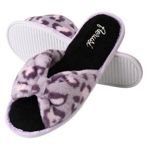 Purple Leopard Pattern Cozy Soft Women Slippers Women Fashion Spa Indoor Shoes