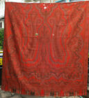 """Victorian Antique Kashmir Hand Woven Wool Paisley Piano Shawl Tapestry 63"""" x 63"""""""