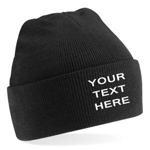 Personalised custom embroidered Mens/Ladies Black Beanie Hat,  Text/Logo