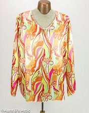 Hippie Top 60's Bright Multi Colored Unisex V-neck Poly Satin Tunic Top OS