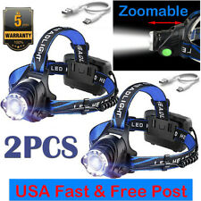2PCS  Rechargeable Tactical 350000LM LED Headlamp Headlight Head Torch
