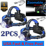 2PCS T6 Rechargeable Tactical 350000LM LED Headlamp 186**50 Headlight Head Torch